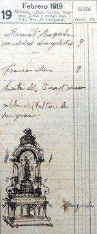 Anotacions sobre el treball a l'església de Santa Eulàlia, a Begudà, 19.2.1919 (ACGAX. Fons Sadurní Brunet Pi. Dietaris)