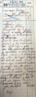 Esborrany del pressupost de l'altar major de l'església de Santa Eulàlia, a Begudà, 26.2.1918 (ACGAX. Fons Sadurní Brunet Pi. Dietaris)
