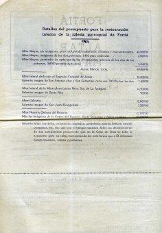 Butlleta de cooperació per a la reforma de l'altar major de l'església de Sant Julià, a Fortià, 1948