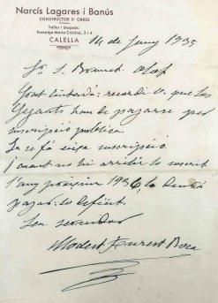 Carta de Modest Furest Roca en què recorda que els gegants es pagaran per subscripció popular, 14.6.1935 (ACGAX. Fons Sadurní Brunet Pi)