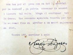 Carta de Narcís Lagares Banús adreçada a Joan Brunet Forasté en què li trasllada la voluntat de la comissió de fer els gegants, 11.3.1935 (ACGAX. Fons Sadurní Brunet Pi)
