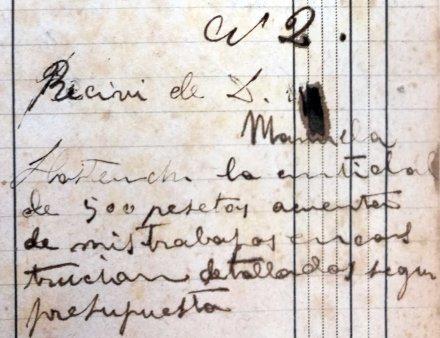 Rebut de diferents treballs a la casa Hostench, 12.6.1916 (ACGAX. Fons Sadurní Brunet Pi. Dietaris)