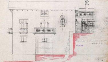 Plànol del projecte de reforma de la casa de Martí Batlle, a Jafre (façana lateral), 1945