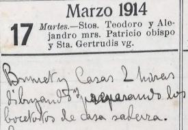 Anotació sobre l'inici dels esbossos del domicili de Josep Saderra, 17.3.1914 (ACGAX. Fons: Sadurní Brunet Pi. Dietaris)