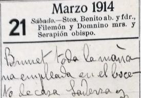 Anotació sobre l'inici dels esbossos del domicili de Josep Saderra, 17.3.1914 (ACGAX. Fons Sadurní Brunet Pi. Dietaris)