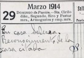 Anotació sobre una visita al domicili de Josep Saderra, 29.3.1914 (ACGAX. Fons: Sadurní Brunet Pi. Dietaris)