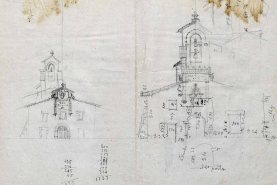 Esbós del projecte de reforma de la façana i del campanar del santuari de la Fontsanta, a Jafre, 1945