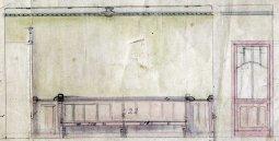 Dibuix del taulell i d'una porta de la sucursal de la banca Saderra, Prat y Compañía al carrer de Sant Esteve, 27, d'Olot, 1915