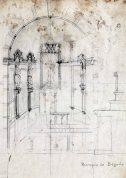 Esbós de l'altar major de l'església de Santa Eulàlia, a Begudà,1918