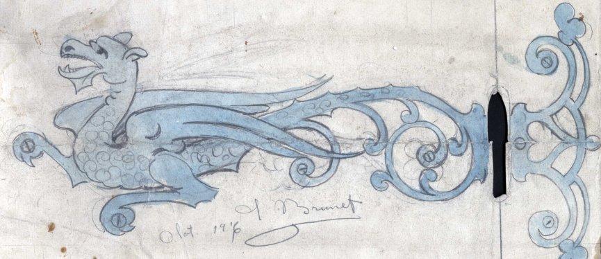 Esbós d'una xarnera del despatx de Francesc Quera, a Olot, 1916