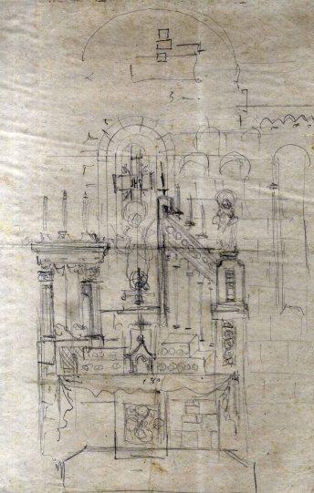 Esbós de l'altar major de l'església de Sant Esteve, a Pedret i Marzà, 1941