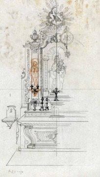 Projecte del cambril de Nostra Senyora de Mont-ros a a l'església de Santa Eulàlia, a Begudà, 1945