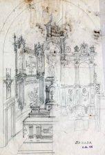 Esbós de l'altar major a l'església de Santa Eulàlia, a Begudà, 1945
