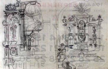 Esbossos de l'altar de la Mare de Déu de Gràcia del santuari de la Fontsanta, a Jafre, 1945