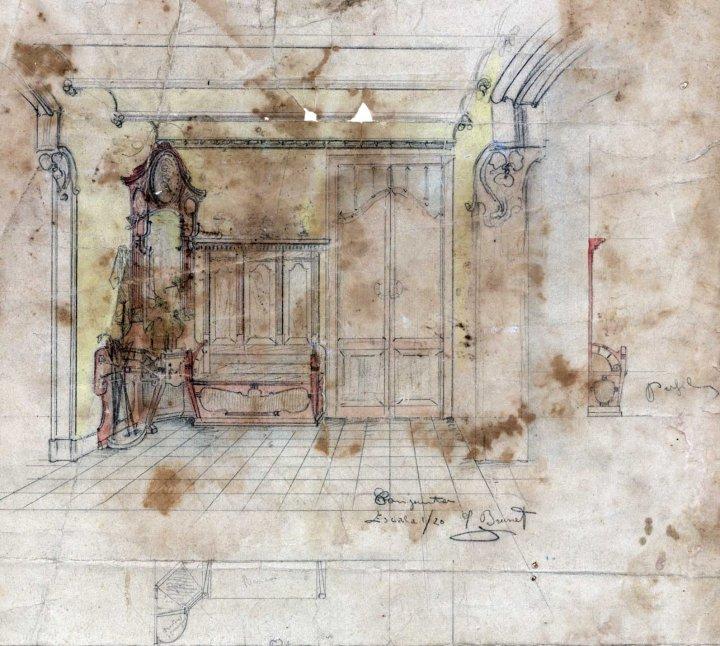 Esbós d'un escó i d'un paraigüer de la casa Hostench, 1915
