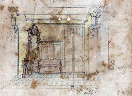 Esbós del projecte decoratiu del rebedor de la casa Hostench, c.1916