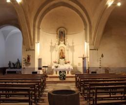 Vista parcial de l'interior de l'església de Santa Eulàlia, a Begudà, 2017 (Arxiu d'imatges de l'Ajuntament de Sant Joan les Fonts)