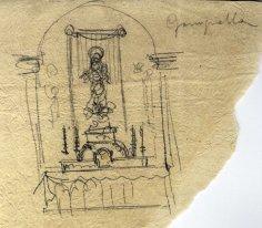 Esbós d'un altar de l'església de Santa Eulàlia de Noves, a Garriguella, 1941