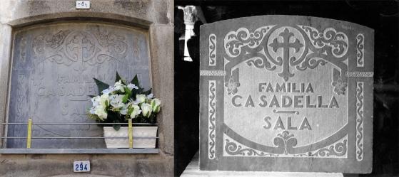 Làpida de la família Casadellà Sala en l'actualitat, a l'esquerra, i acabada de fer, a la dreta