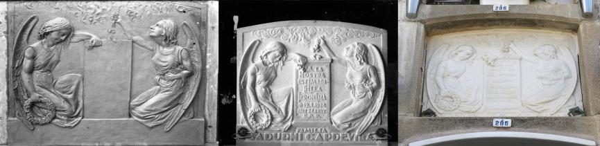 Làpida de la família Sadurní Capdevila, abans d'inscriure el nom, a l'esquerra, un cop enllestida, al centre, i en l'actualitat, a la dreta