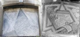 Làpida de la família Santiago Gutiérrez en l'actualitat, a la l'esquerra, i acabada de fer, a la dreta