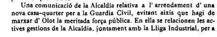 """Notícia del lloguer d'un nou local per a la Guàrdia Civil (""""El Deber"""", 2.6.1916)"""