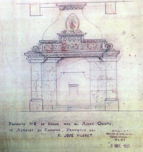 Projecte de reforma de la xemeneia del mas Quintà, a Maçanet de Cabrenys, 1947