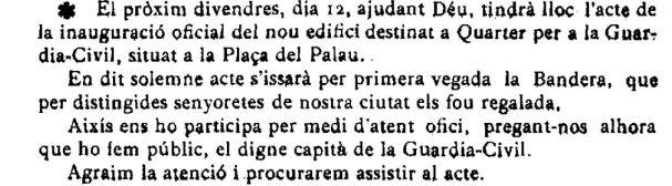 """Notícia de la inauguració de la caserna de la Guàrdia Civil (""""El Deber"""", 6.10.1916)"""