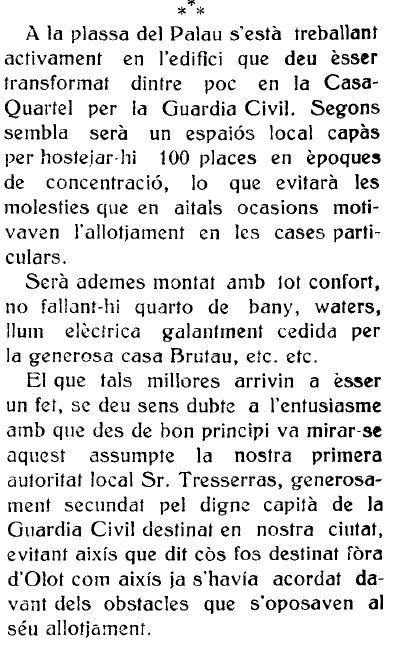 "Notícia de la reforma de la caserna de la Guàrdia Civil (""La Comarca"", 22.7.1916)"