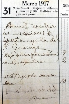 Anotacions de treballs a l'oratori de Can Gussinyer, 31.3.1917 (ACGAX. Fons: Sadurní Brunet Pi. Dietaris)