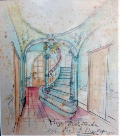 Reproducció del projecte decoratiu de l'entrada de la casa Hostench, 1915 (Foto. arxiu família Aramburo Hostench)