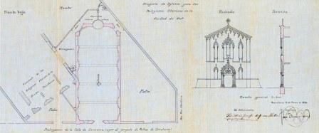 Plànol de l'expedient de llicència d'obres, 15.3.1922 (ACGAX. Fons Ajuntament d'Olot. Expedient de llicència d'obres)