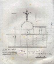 Projecte de l'armari per a la sagristia de l'església de Santa Margarida, a la Vall de Bianya, 1950