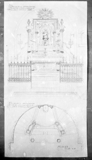 Reproducció del projecte de l'altar de la Mare de Déu de Gràcia del Santuari de la Fontsanta, a Jafre, 1945