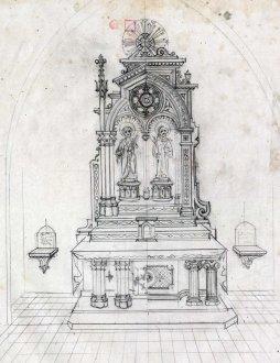 Projecte per a l'altar major de l'església de Sant Cosme i Sant Damià, a Begudà, 1945