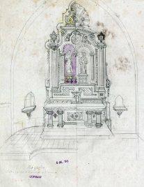 Projecte de l'altar major a l'església de Sant Cosme i Sant Damià, a Begudà, 1945