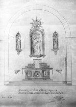 Reproducció del projecte de l'altar major de l'església de Sant Pere Despuig, a la Vall de Bianya, entre els anys 1944 i 1948 (ACGAX. Fons Sadurní Brunet Pi. Autor: Sadurní Brunet)