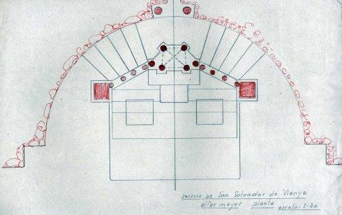 Planta de l'altar major de l'església de Sant Salvador, a la Vall de Bianya, entre els anys 1944 i 1948