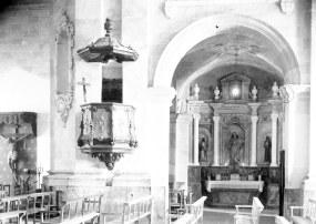 Vista frontal de l'altar del Roser de l'església de Santa Eulàlia de Noves, a Garriguella, 1941 (ACGAX. Fons Sadurní Brunet Pi. Autor: Sadurní Brunet)