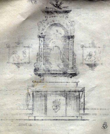 Esbós de l'altar del Sagrat Cor de l'església de Sant Martí de Capsec, a la Vall de Bianya, 1944