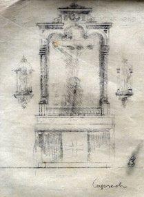 Esbós de l'altar del Sant Crist de l'església de Sant Martí de Capsec, a la Vall de Bianya, 1944