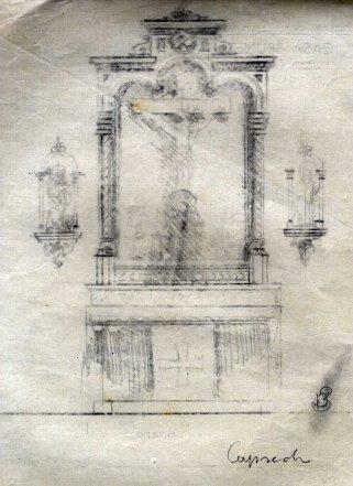 Esbós de l'altar del Sant Crist de l'església de Sant Martí de Capsec, a la Vall de Bianya, 1948