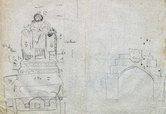 Esbossos d'altars de l'església de Sant Martí de Capsec, a la Vall de Bianya, 1948