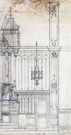 Perfil del projecte de l'altar major de l'església de Sant Jaume de Llierca, 1948