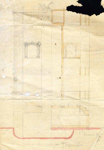 Esbós de taulell de venda d'entrades del Cine del Recreo, 1910