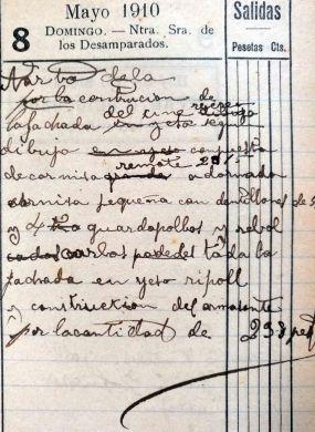Anotacions sobre la construcció de la façana i el dibuix d'elements decoratius del Cine del Recreo, 8.5.1910 (ACGAX. Fons Sadurní Brunet Pi. Dietaris)