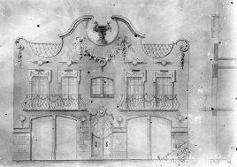 Reproducció del projecte de reforma d'una façana sense localitzar, entre 1909 i 1920 (ACGAX. Fons Sadurní Brunet Pi. Autor: Sadurní Brunet)