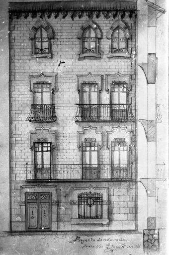 Reproducció del plànol del projecte de reforma d'una casa a Olot, 1914 (ACGAX. Fons Sadurní Brunet Pi. Autor: Sadurní Brunet)
