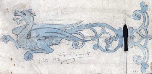 Dibuix d'una xarnera amb forma de drac, 1916