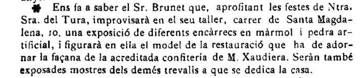"""Notícia de l'exposició de la maqueta de Can Xaudiera (""""El Deber"""", 2.9.1922)"""